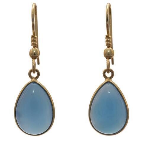 Handmade Gold Overlay Bue Chalcedony Earrings (India) - Blue