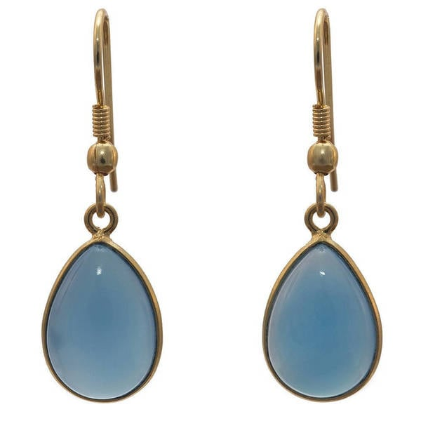 Handmade Gold Overlay Bue Chalcedony Earrings (India) - Blue. Opens flyout.