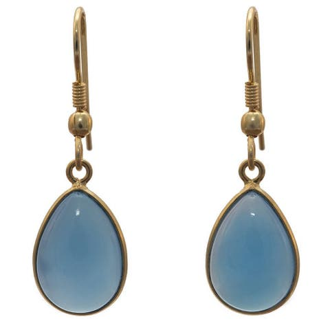 Handmade Gold Overlay Bue Chalcedony Earrings (India) - Blue
