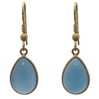 Handcrafted Goldplated Bue Chalcedony Earrings (India)