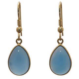 Handmade Gold Overlay Bue Chalcedony Earrings (India)|https://ak1.ostkcdn.com/images/products/10053041/P17196992.jpg?impolicy=medium