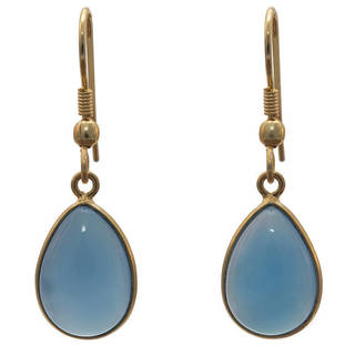Handmade Gold Overlay Bue Chalcedony Earrings (India)