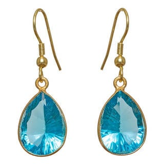 Handcrafted Goldplated Brass Concave-cut Hydro Blue Earrings (India)