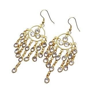 Handmade Gold Overlay Crystal Quartz Chandelier Earrings India Clear