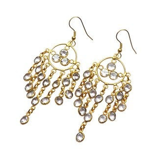 Handmade Gold-overlay Crystal Quartz Chandelier Earrings (India) - Clear