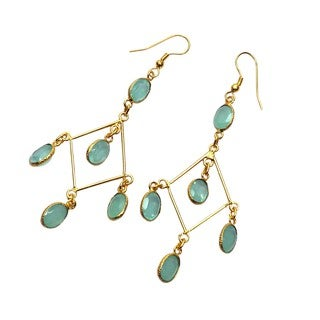 Handcrafted Goldplated Brass Chalcedony Hydro Glass Chandelier Earrings (India)