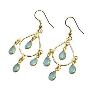 Handcrafted Brass Goldplated Aqua Hydro Glass Chandelier Earrings (India)