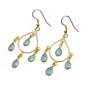 Handmade Gold Overlay Aqua Glass Chandelier Earrings (India)