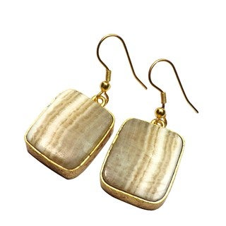 Handcrafted Brass Goldplated Agate Earrings (India)