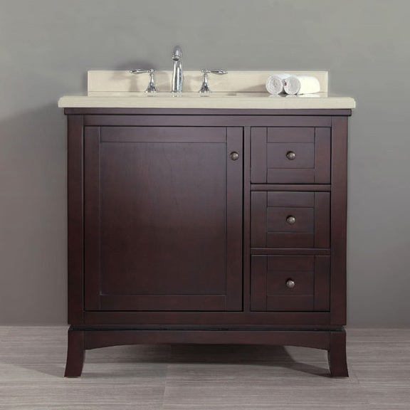 Ove Decors Valega 36 Inch Single Bowl Bathroom Vanity With Marble Top Espresso