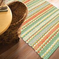 LR Home Altair Cotton Dhurry Jade Indoor Area Rug ( 5' x 8' ) - 5' x 7'9
