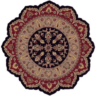 LNR Home Shapes Lr10573 Black/ Red Star Rug (5')