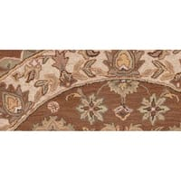 LR Home Shapes Coffee Brown / Ivory Round Rug ( 5' x 5' )