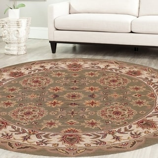 LNR Home Shapes Lr10564 Green/ Ivory Round Rug (5')