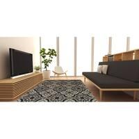 "LR Home Dazzle Grey Floral Rug (5' x 7'9"") - 5' x 8'"