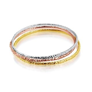 Belcho Hammered Thin Texture Bangle Set
