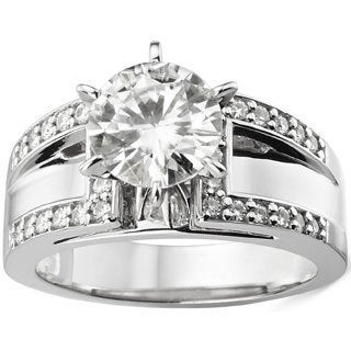 Charles & Colvard 14k White Gold 2.2 TGW Round Classic Moissanite Solitaire Ring with Sidestones
