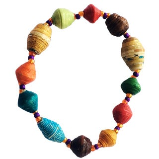 Set of 2 Namuwongo Recycled Paper Round Beads Multi-colored Bracelets (Uganda)