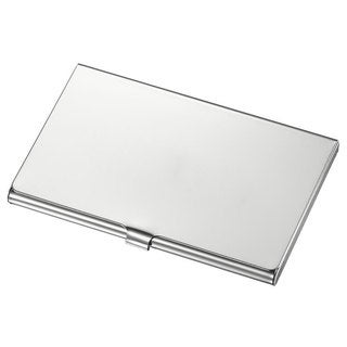 Canvas Polished Stainless Steel Business Card Case