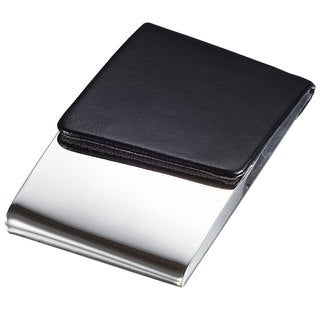 Visol Delhi Black Leather and Polished Steel Business Card Case