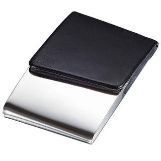 Visol Delhi Black Leather and Polished Steel Business Card Case