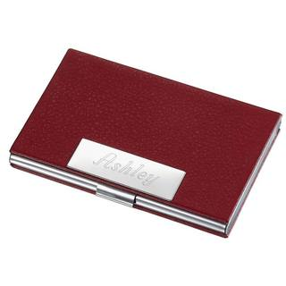 Samantha Red Leather Business Card Case
