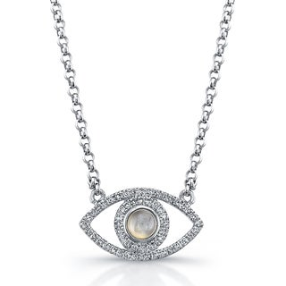 Victoria Kay Sterling Silver Evil Eye 1/4ct TDW Diamond and Moonstone Necklace (J-K, I2-I3)