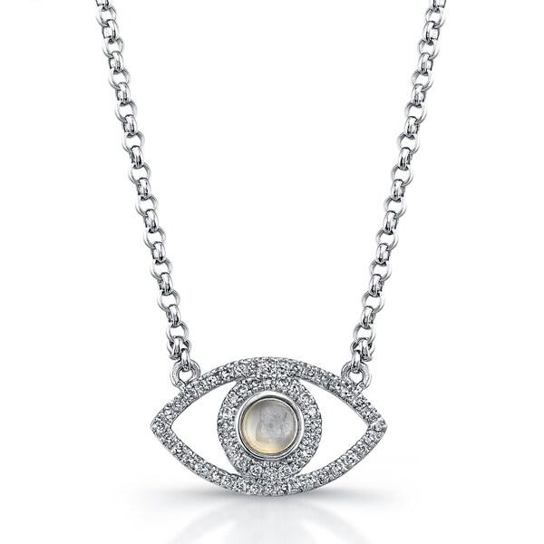 Victoria Kay Sterling Silver Evil Eye 1/4ct TDW Diamond and Moonstone Necklace (J-K, I2-I3)