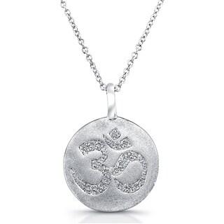 Victoria Kay Sterling Silver 1/10ct TDW Diamond Round Disc Om Symbol Necklace (J-K, I2-I3)