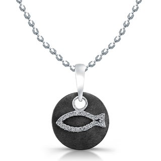 Sterling Silver Two-tone 1/10ct TDW Diamond Round Disc Fish Necklace (J-K, I2-I3)