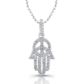 Victoria Kay Sterling Silver 1/4ct TDW Diamond Hamsa and Peace Sign Necklace (J-K, I2-I3)|https://ak1.ostkcdn.com/images/products/10053267/P17197146.jpg?impolicy=medium
