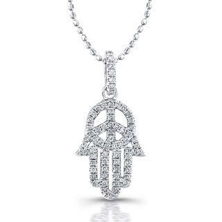 Victoria Kay Sterling Silver 1/4ct TDW Diamond Hamsa and Peace Sign Necklace (J-K, I2-I3)