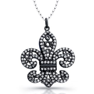 Victoria Kay Sterling Silver 1/3ct TDW Diamond Fleur di Lis Necklace (J-K, I2-I3)