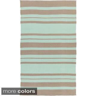 Hand-Woven Jorge Stripe PVC Area Rug (8' x 11') - 8' x 11' - Thumbnail 0