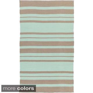 Hand-Woven Jorge Stripe PVC Rug (2' x 3')