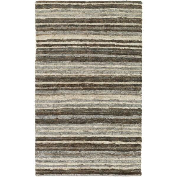 Hand Woven Jeff Stripe Jute Area Rug Overstock 10053396 2 X 3 Brown Pink