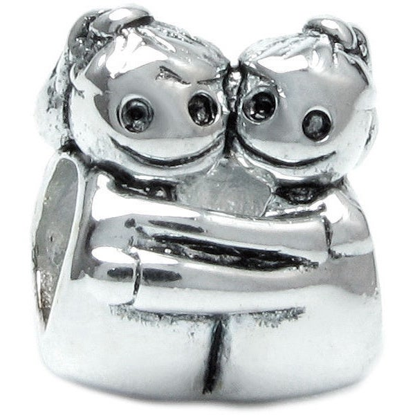 Queenberry Sterling Silver Sisters European Bead Charm (A...