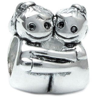 Queenberry Sterling Silver Sisters European Bead Charm