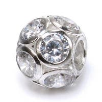 Queenberry Sterling Silver Cubic Zirconia April Birthstone European Bead Charm