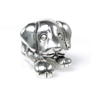 Queenberry Sterling Silver Puppy Laying Animal European Bead Charm