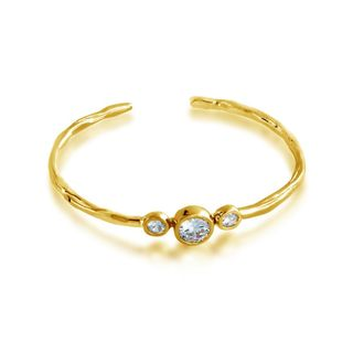 Belcho Gold Overlay Cubic Zirconia 3-stone Passion Bangle