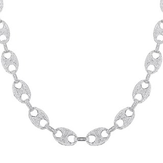 14k White Gold 24 1/2ct TDW Pave Diamond Link Necklace (H-I, SI1-SI2)
