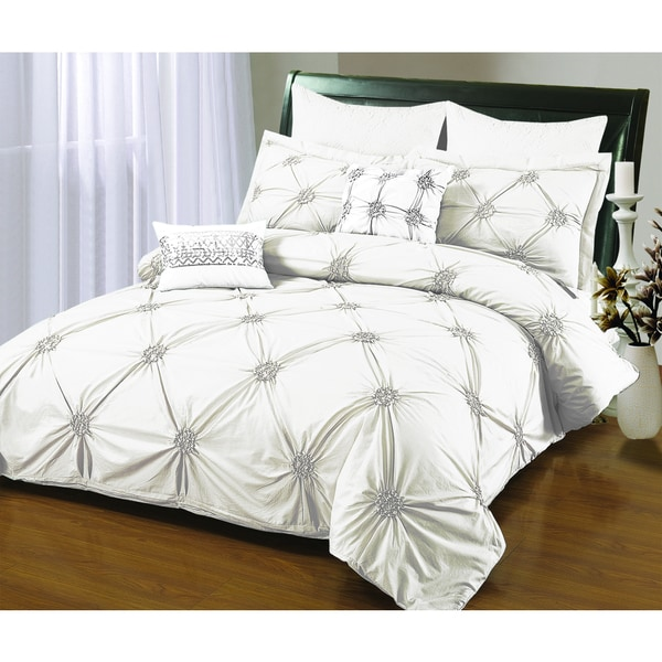 Sandra Venditi Ruched 6-piece Duvet Cover Set