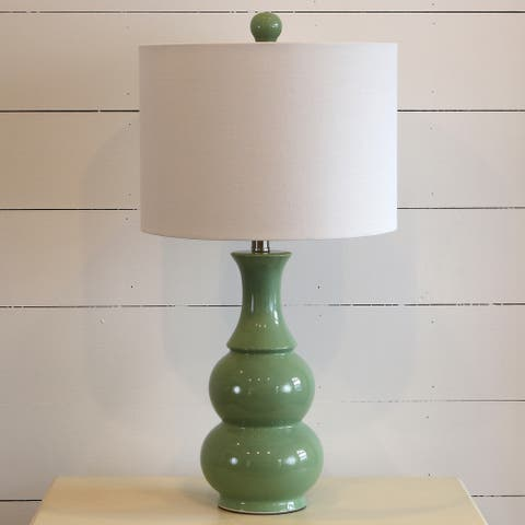 Copper Grove Arcalis Green Ceramic Table Lamp with Off-white Drum Shade (26.5 in.)