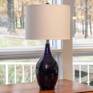 27-inch Spa Blue Ceramic Table Lamp