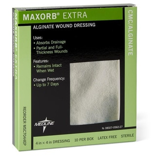 Medline Maxorb Extra Alginate 4-inch Wound Dressings (Box of 10)