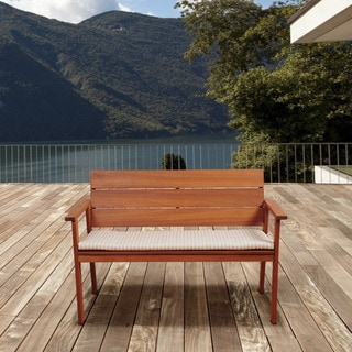 Amazonia Albany Eucalyptus Patio Bench With Beige Striped Cushion