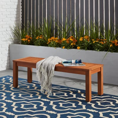 Tottenville Eucalyptus Backless Patio Bench by Havenside Home