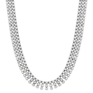 14k White Gold 31 2/5ct TDW Diamond Prong Chain Necklace