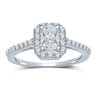 Unending Love 14K White Gold 3/4 ctw Emerald 'Cushella Love Cuts' Diamond Halo Engagement Ring